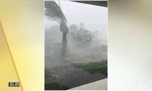 Imagens mostram a tempestade de granizo que atingiu uma praia em SC
