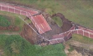 Chuva derruba mais um trecho da ciclovia Tim Maia no Rio