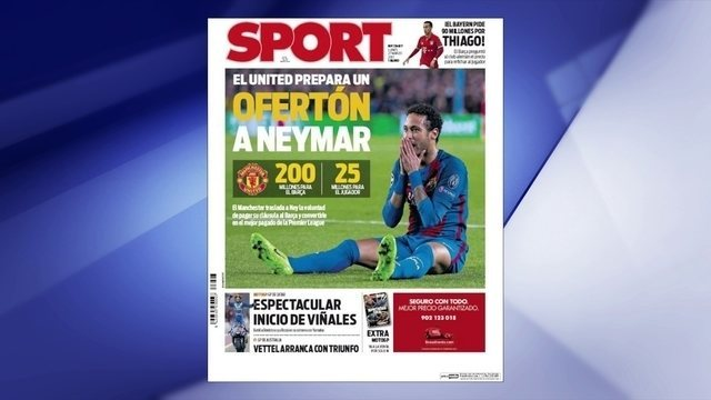 Neymar receberá proposta milionária do Manchester United, afirma jornal espanhol