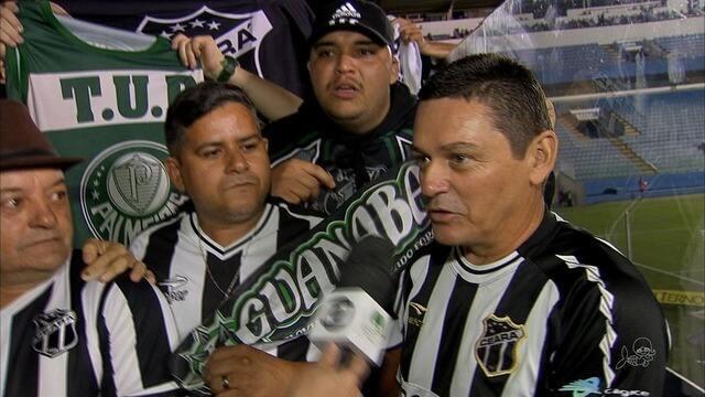 Torcida do Ceará faz festa depois da vitória contra o Oeste
