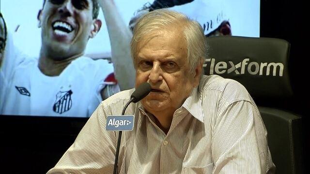 """Presidente do Santos brinca sobre Levir: """"Pode tropeçar na escada do avião e cair"""""""