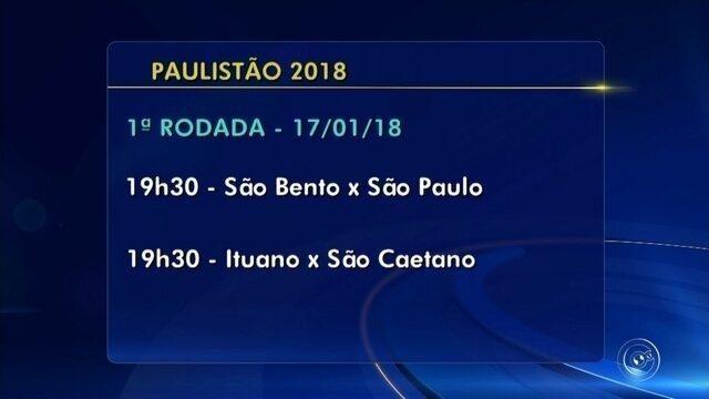 Veja as datas e horários dos jogos de São Bento e Ituano no Paulistão 2018