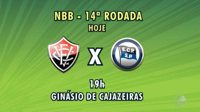 Time de basquete do Vitória enfrenta o Pinheiros no ginásio de Cajazeiras, pelo NBB
