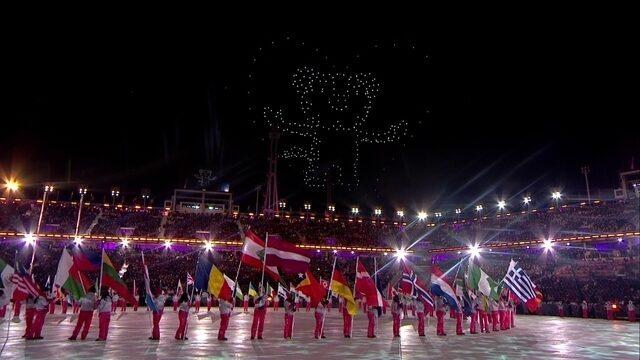 Desenhos com drones dão show a parte na cerimônia de encerramento em PyeongChang
