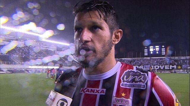 """Bruno Moraes lamenta desclassificação do Botafogo-SP:"""" Fizemos um boa jogo, mas pecamos"""""""