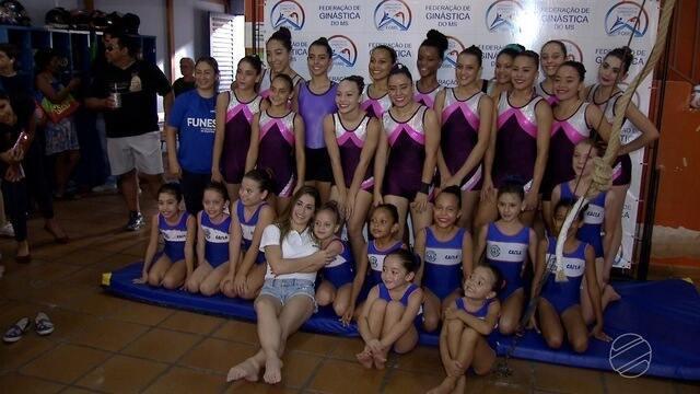 Daniele Hypólito visita escolinha de ginastas em Campo Grande