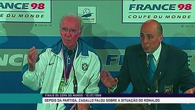 Zagallo discute com jornalista após final da Copa do Mundo de 1998