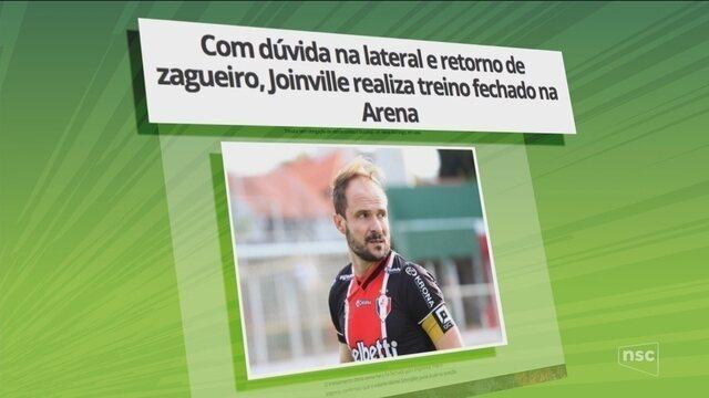 Com dúvida na lateral e retorno de zagueiro, Joinville realiza treino fechado na Arena
