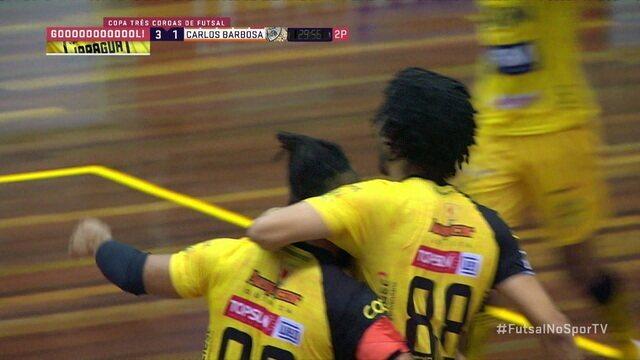 Os gols de Jaraguá 5 (3) x (1) 5 Carlos Barbosa pela decisão do Torneio Três Coroas