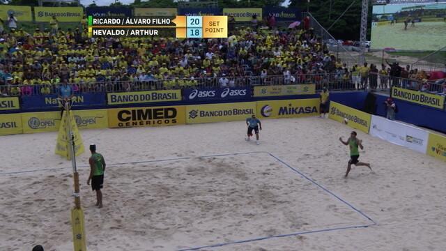 Pontos finais de Ricardo/Álvaro Filho 2 x 0 Hevaldo/Arthur pela etapa de Natal do Circuito Brasileiro de vôlei de praia