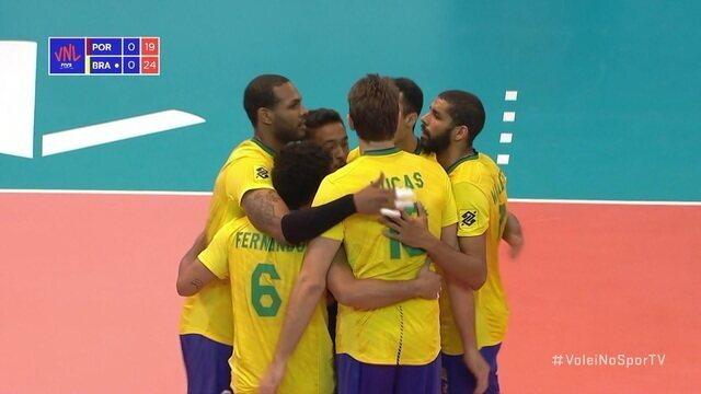 1º Set - Portugal joga para fora, e Brasil fecha o set, 25 x 19