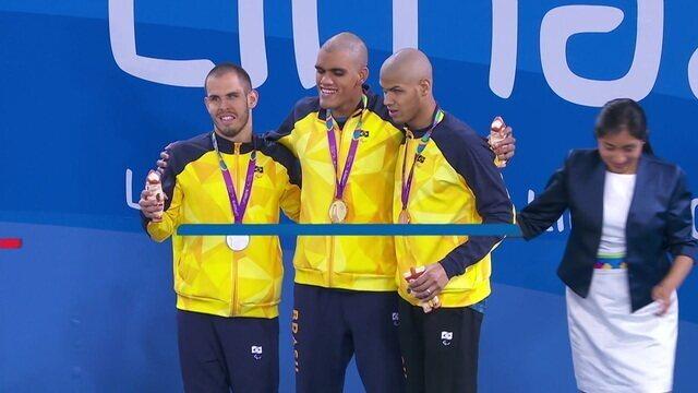 Brasileiros fazem pódio triplo nos 100m livre S11 na natação dos Jogos Parapan-Americanos de Lima