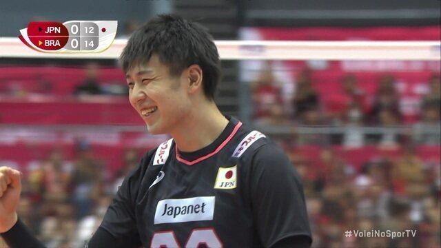 1º set: Após um belo rali, Japão pontua 12/14