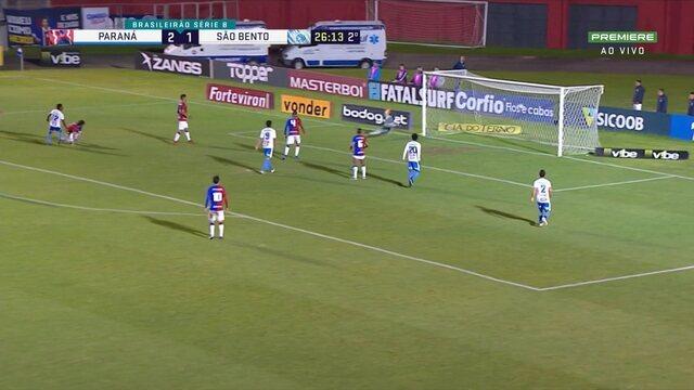 Guilherme Romão pedala, invade a área e finaliza na rede pelo lado de fora. Quase!