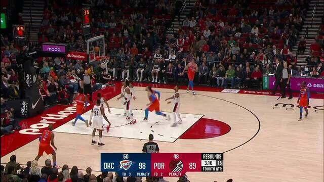 Melhores momentos: Oklahoma City Thunder 108 x 96 Portland Trail Blazers pela NBA