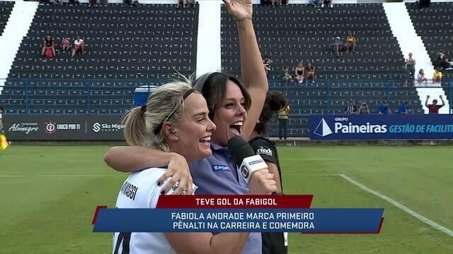 Gol da Fabigol! Fabiola Andrada repercute cobrança de pênalti em amistoso da Milene Domingues