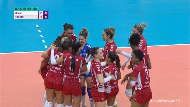 Pontos finais de Minas 2 x 3 Osasco pela Superliga de vôlei feminino