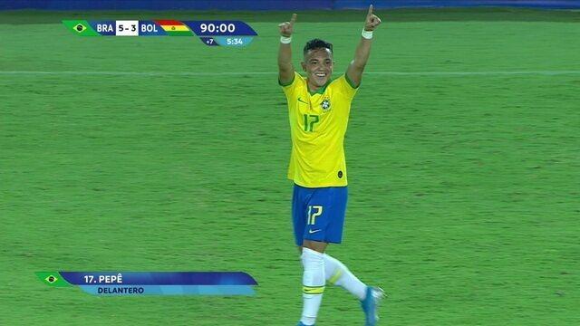 Gol do Brasil! Caio Henrique toca para Pepê, que chuta forte e aumenta, aos 49' do 2ºT