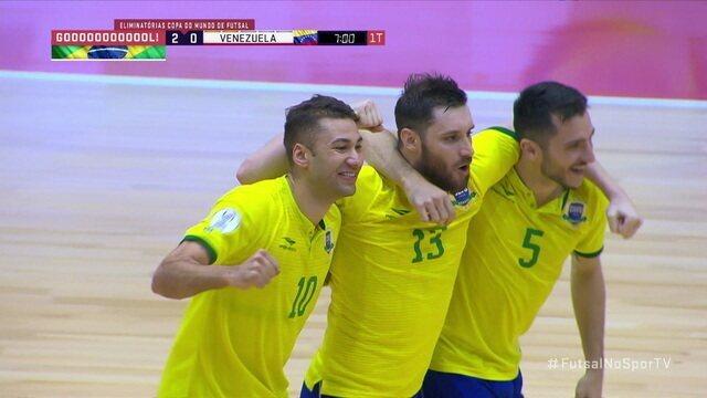 Os gols de Brasil 3 x 0 Venezuela pela as Eliminatórias da Copa do Mundo de futsal