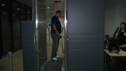 New 'body scanner' machine installed in Pinto Martins International Aiport in Fortaleza, Ceara, Brazil on Tuesday 15 May 2012