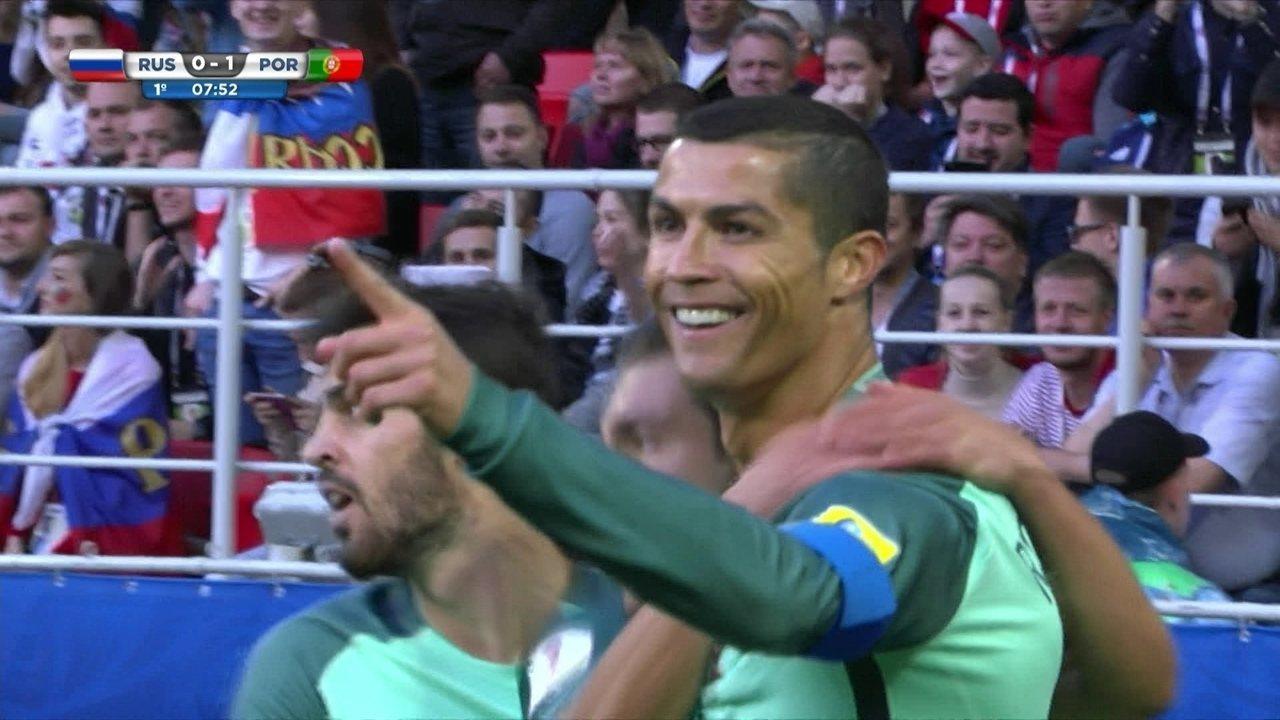 Gol de Portugal! Guerreiro cruza na medida para Cristiano Ronaldo marcar, aos 7' do 1º T