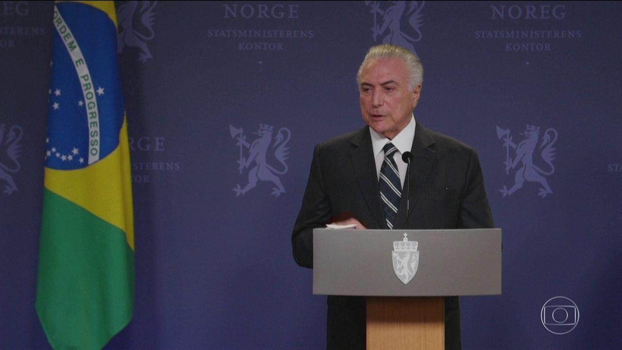 Michel Temer enfrenta protesto e reclamações na Noruega