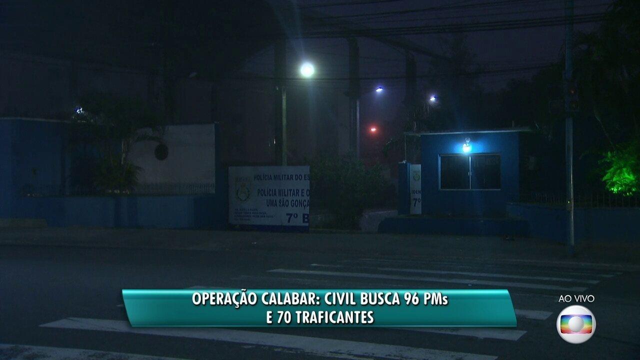 Operação da Polícia Civil busca 96 PMs e 70 traficantes