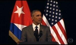 Barack Obama discursa no principal teatro de Havana