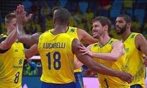 Treinando para a Olimpíada, seleção de vôlei masculina tem vitória na Liga Mundial
