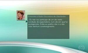 Dilma Rousseff diz que não vai à cerimônia de abertura da Olimpíada do Rio