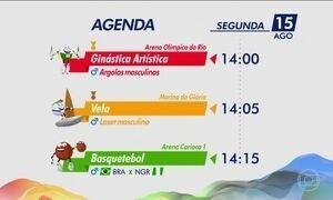 Confira a agenda olímpica desta segunda-feira (15)