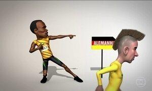 Usain Bolt dá um incentivo para Neymar