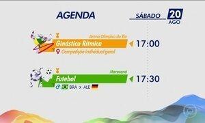 Confira a agenda de competições da Olimpíada neste sábado (20)