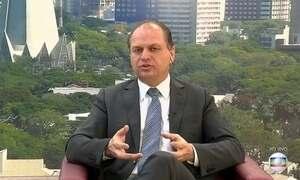 Jornal Hoje entrevista ao vivo ministro da Saúde Ricardo Barros, do PP
