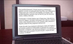 Governo de SC divulga nota sobre acidente com avião da Chapecoense