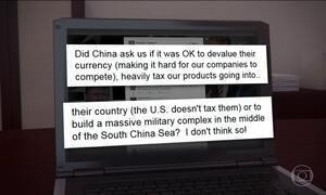 Donald Trump critica as políticas cambial e militar da China em rede social