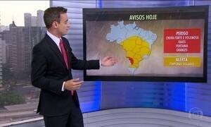 Volumes de chuva devem ficar acima dos 70 milímetros no Mato Grosso do Sul e Paraná