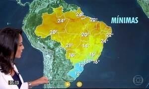 Confira a previsão do tempo para a quarta-feira (14)