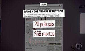 Vinte PMs são responsáveis por 10% de mortes em confrontos no Rio