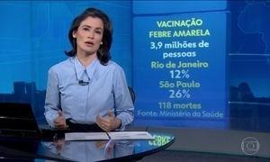 Vacinação contra a febre amarela no Rio e em SP só atinge 19% do público alvo