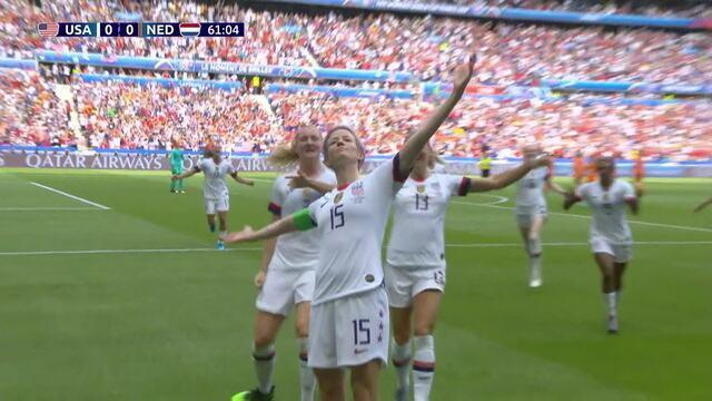Gol dos EUA! Repinoe bate e supera Van Veenendaalll, aos 16 do 2º tempo