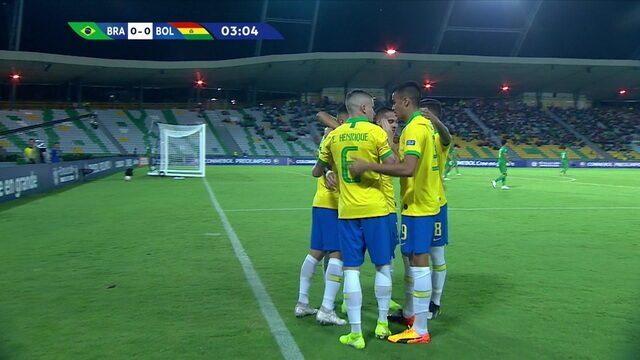 Os gols de Brasil 5 x 3 Bolívia pelo Pré-Olímpico de Futebol Sub-23
