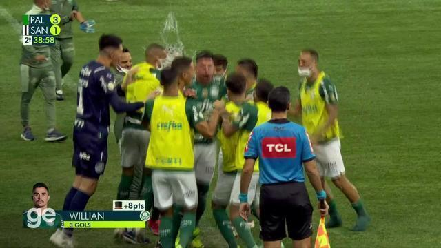 Aos 37 min do 2º tempo - gol de dentro da área de Willian do Palmeiras contra o Santos
