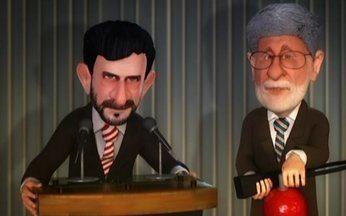 A Charge do Chico: Celso Amorim tenta apagar os discursos do presidente do Irã - Durante um discurso de Mahmoud Ahmadinejad no Brasil, o ministro das Relações Exteriores Celso Amorim usa um extintor para impedir que ele fale algo polêmico. Depois disso, ele quer férias!