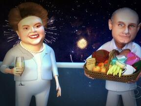 Dilma e Guido Mantega desejam a todos um Feliz 2012 - A presidente Dilma e o ministro da Fazenda Guido Mantega disseram que tiveram um ano difícil, com uma crise internacional e as sete quedas de ministros. Mas tudo acabou bem, com o Brasil se tornando a sexta economia do mundo. Por isso, Feliz 2012!