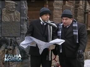 Falha Nossa com erros de Os Caras de Pau, Melhem e Leandro Hassum - Eles são intérpretes de Pedrão e Jorginho no humorístico