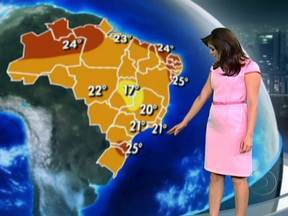 Domingo vai ser de chuva de verão na maior parte do Brasil - O forte calor e a alta umidade do ar vão formar nuvens carregadas. Há risco de temporais entre o leste de Santa Catarina, São Paulo, Mato Grosso e o Acre. Pode chover forte também do Maranhão até o litoral de Pernambuco.