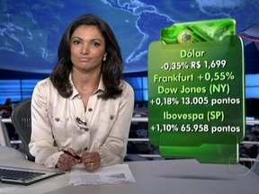 Dólar fecha abaixo de R$ 1,70 e tem menor cotação desde outubro - O Dow Jones, da Bolsa de Nova York, encerrou em alta, na maior pontuação desde maio de 2008. E o índice da Bolsa de São Paulo também subiu.