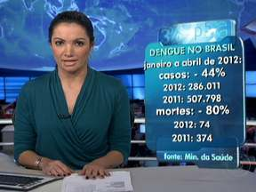 Ministério da Saúde divulga balanço da dengue no Brasil - De janeiro a abril de 2012 houve queda de 44% no número de casos em comparação a 2011. O número de mortes registrou queda de 80%, tendo sido 74 este ano e 374 ano passado.