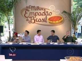 Jurados provam os 14 empadões do concurso - Chico Pinheiro, Gaby Amarantos, Tsuyohy Murakami, Marcelo Katsuki e Felipe Siani escolhem o melhor empadão do Brasil.s.